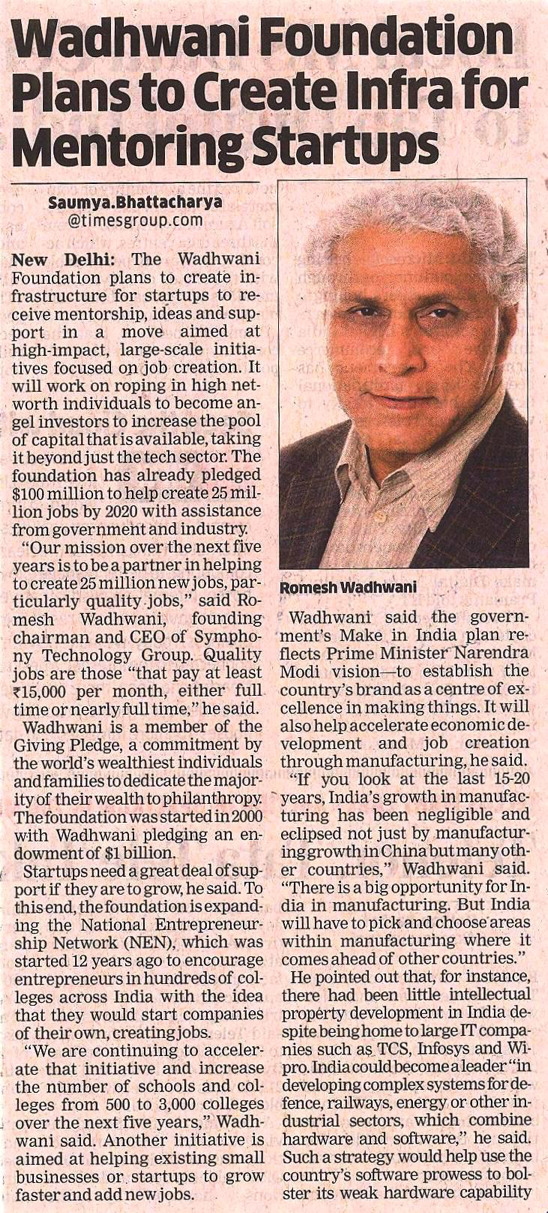 The Economic Times - Romesh Wadhwani