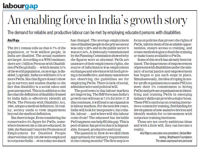 Atul Raja, EVP Marketing, Wadhwani Foundation writes for HT on 'Educated Disabled as enabling force for India's growth story