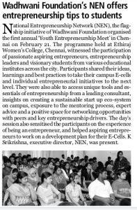 WF NEN offers entrepreneurship tips to students