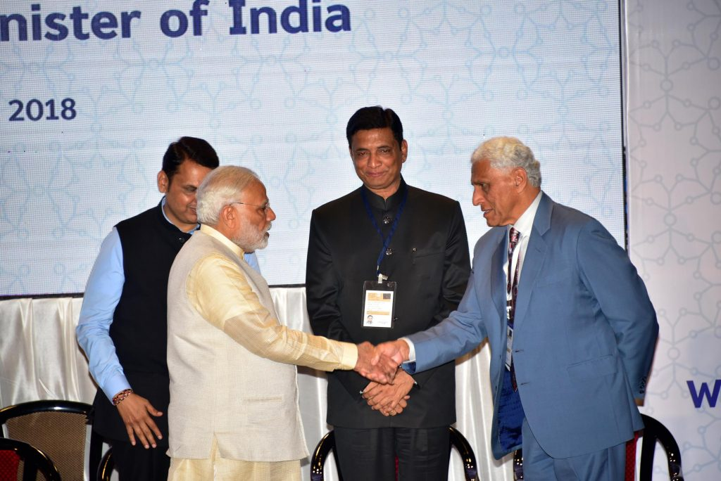 Hon'ble Prime Minister of India Shri Narendra Modi and Romesh at the Launch event of Wadhwani Institute for Artificial Intelligence